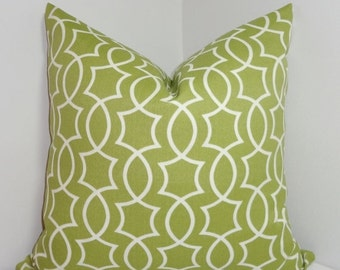 FALL SALE OUTDOOR Apple Green Geometric Pillow Cover Cushion Covers Porch Pillows 18x18