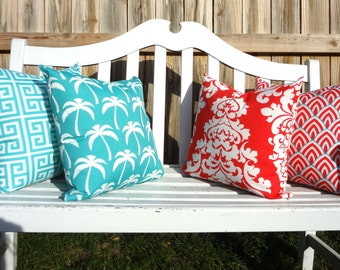 OUTDOOR Pillow Covers Calypso & Coastal Blue Geometric Damask Palms Patio Deck Pillow Choose Size