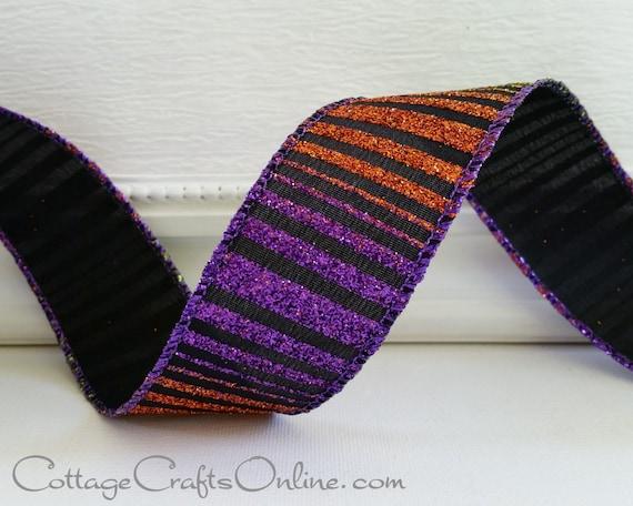 "Halloween Wired Ribbon, 1 1/2"" Glittered Stripe Black Orange Green Purple - THREE YARDS - Offray ""Midnight"" Wire Edged Ribbon"