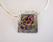Purple Pink Green Gold Hammered Sterling Silver Glass Bead Honeycomb Wearable Art Pendant