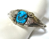 signed Turquoise Sterling Silver Cuff, Native American, feathers, flowers, 925, Excellent