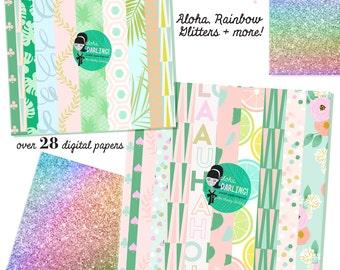Cute Hula Girl Tropical Aloha Luau Digital Paper files for Small CU like Planner Stickers Custom Card Template flowers