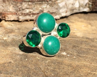Malachite and Green Tourmaline gemstone crystal ring with healing size 7 3/4 P