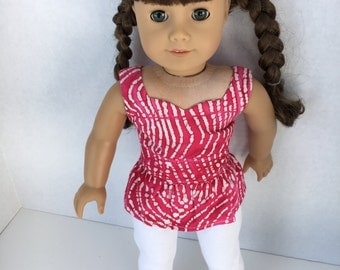 18 inch white leggings and hot pink peplum top, made to fit 18 inch dolls such as American Girl and similar dolls.