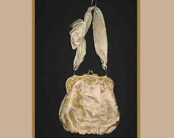 "Vintage Cream Silk Damask French Evening Bag Purse Ornate Gold Clasp Ribbon Handle 6"" x 6"""