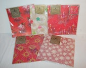 Vintage Glitter Christmas Gift Wrap Large Lot 5 NOS Packages Starburst Snowflakes Atomic Shiny Wrapping Paper