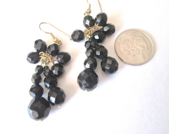 Vintage Black Jet Dangle and Drop Earrings 1960s