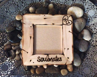 Soulmates Picture Frame with Initials Carved in a Heart Boyfriend Girlfriend Anniversary Love