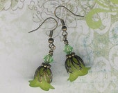 Lime Green Flowers, Make Your Own Earrings, DIY Lily, Do It Yourself Jewelry, Bead Kit, Beginner Kit, Beaders Gift, Jewelry Maker Kit, Green