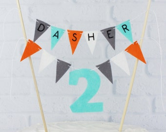 Aqua, Orange, and Grey 2nd Birthday Cake Bunting Banner, 2 Year Old Cake Topper, Personalized Custom Cake Bunting, Birthday Cake Centerpiece