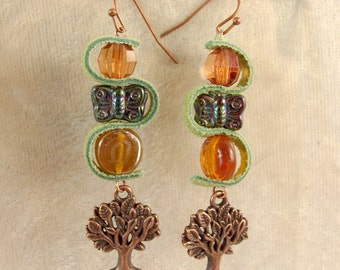 Leather, Glass, and Metal Earrings - LE45