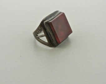 Silver Ring with Brown Amber Stone Size 2 1/2-3.