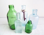 Set of 5 Antique Bottle Collection, Small Medicine Bottles, Aqua Blue, Green - Beach House Decor