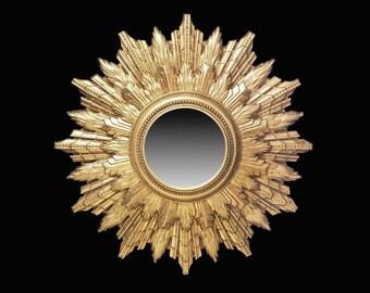 "Large Sunburst Mirror • Classic 1950s • Timeless Mid Century • Gilded Fiberglass • One Of A Kind • Hollywood Regency • 19.5"" • High Drama !"
