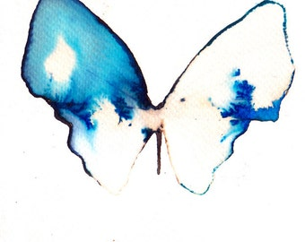 white gold ultramarine and azure blue butterfly. original watercolour painting