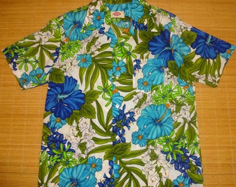 Mens Vintage 70s Pomare Tropical Floral Hawaiian Shirt - L - The Hana Shirt Co