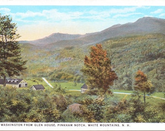 Mt. Washington, Glen House, Pinkham Notch, White Mountains, New Hampshire - Linen Postcard - Unused (P)