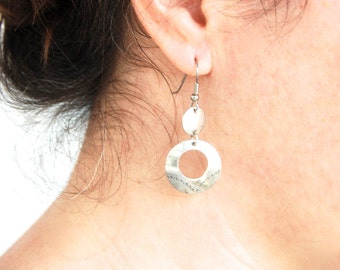 Southwestern Dangle Hoop Earrings Sterling Silver Hoops Dangles Stamped Vintage Southwest Jewelry