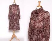 Vintage 1990s Brown Tan Dot Long Sleeve Knee length Dress with Ascot