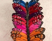 Dark Rainbow Feather Butterflies 12 Monarch Bird Feather Butterflies / 5 inch wingspan / Bridal / Wedding / Bouquets / Party Favors