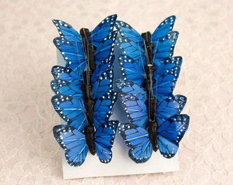 Blue Feather Butterflies 12 Monarch Bird Feather Butterflies 1.5 Inch Wingspan Size / Small Mini Size Butterfly / Wedding Cake Toppers