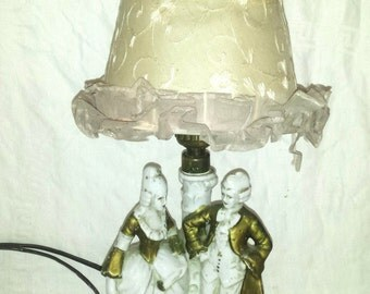 Shabby Chic French Couple Lamp White and Gold