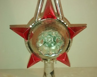 Valentine SALE Vintage mid century plastic tree topper pink and silver Christmas