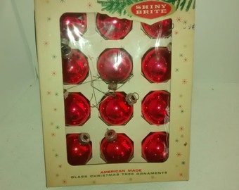 Valentine SALE Mid Century Red , Ornaments by Shiny Brite, Christmas Balls, Original Box