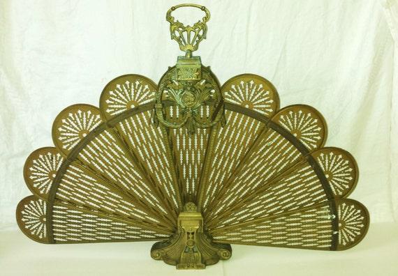Vintage Art Deco Brass Fireplace Screen Retro D Cor Ornate