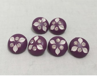 Vintage 1960s Purple Rhinestone Buttons- 6