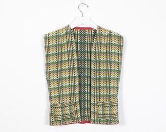 Vintage 70s Vest Green Yellow Pink Black Embroidered Hippie Vest Chevron Stripe 1970s Vest Tapestry Boho Festival Jacket Top XS S Small M