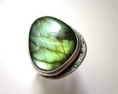 All the Colors of the Dark - small mystical flashy mossy lime green labradorite stone & weathered sterling silver metalwork bezel art ring