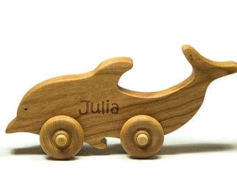 Wooden Toy Car Personalized Dolphin Animal Children Car Toy