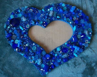 Deep Cobalt Blue Heart Shaped Mosaic Photo Frame