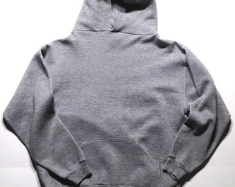 1970's blank rayon blend hooded sweatshirt, large
