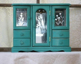 Jewelry box, vintage, shabby-chic, turquoise