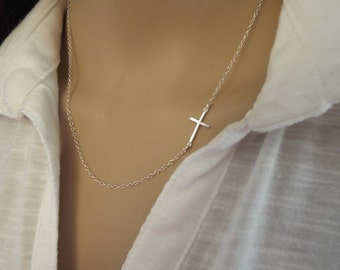 Thin Silver Sideways Cross Necklace Minimalist jewelry- Dainty Silver Cross 925 Necklaces- Off center cross