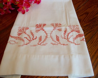 Single Embroidered Pillowcase Muslin Pillowcase with Coral Floral Embroidery Vintage
