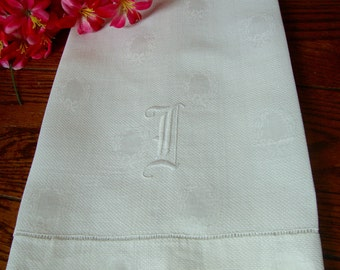 "Antique Damask Towel White Show Towel Embroidered Initial ""I"" Vintage Monogram Towels"
