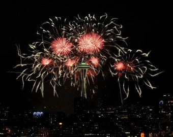 Seattle Space Needle Fireworks Photo, Seattle photo, Fireworks, home decor, wall decor, Seattle photo