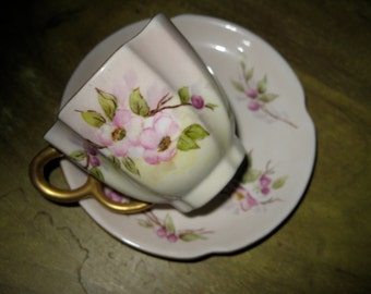 Antique Cup and Saucer Floral Gold Trim Unusual Shape