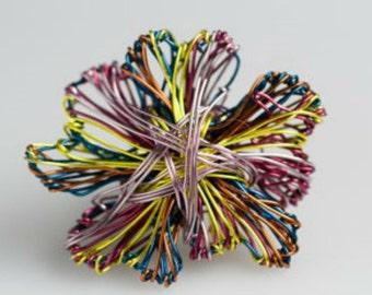 Flower brooch Metal flower brooch pin Abstract flower art jewelry Metal flower sculpture Wire flower brooch Flower jewelry Wire art jewelry.
