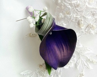 Wedding Natural Touch Royal Purple Dark Eggplant Calla Lily Silk Boutonniere