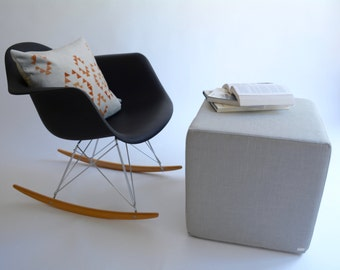 Pouf Ottoman/Minimalistic Cube/Nursery Pouf/Grey/Modern Floor Pouf/Foot Stool/Side table/ Foot Stool /Zigzag Studio Design