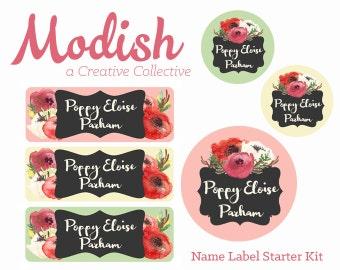 Name Labels, Girl, Waterproof Name Labels, School Name Labels, Daycare Name Labels, Waterproof, Dishwasher Safe, Clothing Tags, Starter Kit