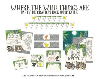 Where the Wild Things Are Printable Party Decorations for Birthday Parties: Digital, Decor
