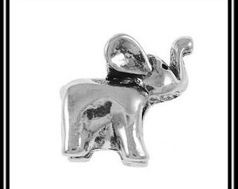 Cute - ELEPHANT with Raised Trunk - Silver Tone - Silver Plated Charm Bead - fits European Bracelets - MS-1031