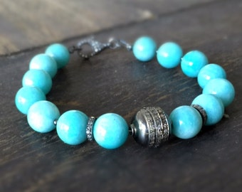 Amazonite Bracelet - Blue Jewelry - Pave Diamonds - Oxidized Sterling Silver Jewellery - Gemstone - Beaded - Luxe - Couture