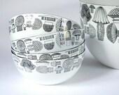 Kaj Franck white enamel bowl set of 4, Esteri Tomula mushrooms, Finel bowls