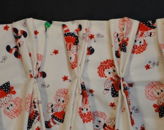 Vintage Raggedy Ann Pinch Pleated Curtain Drapery Panels Red White and Blue-Nursery Child's Room